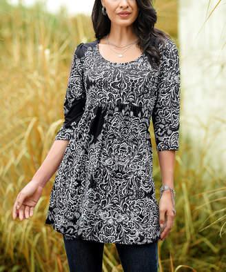 Reborn Collection Women's Tunics Black - Black & White Paisley Empire-Waist Tunic - Women & Plus