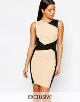 Lipsy Pencil Dress With Color Block Panels
