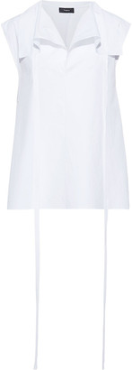 Theory Draped Stretch-cotton Poplin Top