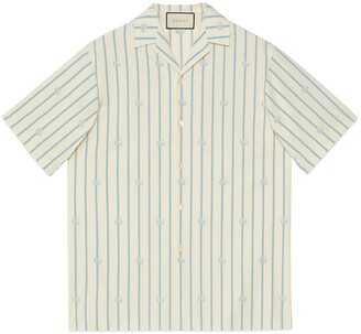 Gucci Double G stripe cotton bowling shirt