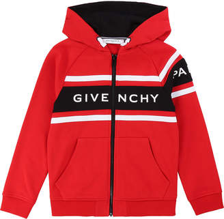 Givenchy Boy's Logo Mini Me Hooded Zip-Front Cardigan, Size 12-14