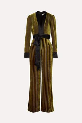 Diane von Furstenberg Satin-trimmed Striped Devore-velvet Jumpsuit - Gold