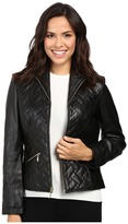 Cole Haan Essential Quilt Zip Front Wing Collar Leather Jacket