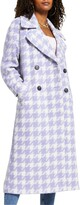 Houndstooth Check Long Coat