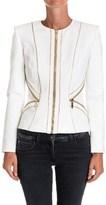 Elisabetta Franchi Women's White Viscose Outerwear Jacket.