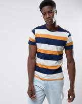 Mango Man Striped T-shirt In Navy And Orange