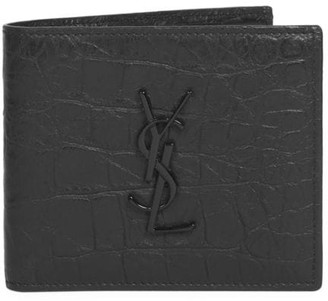 Saint Laurent Croc-Embossed Monogram Leather Wallet