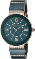 Anne Klein Women's AK/2832NVRG Swarovski Crystal Accented Rose Gold-Tone and Navy Blue Ceramic Bracelet Watch