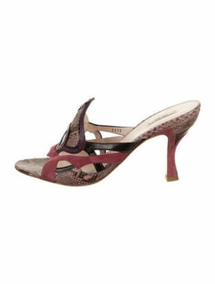 Miu Miu Snakeskin Slide Sandals Mauve