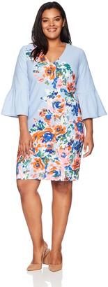Donna Morgan Women's Plus Size Placement Print Crepe Dress