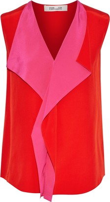 Diane von Furstenberg Isabel Draped Two-tone Silk Crepe De Chine Top