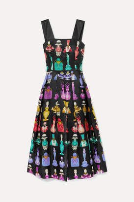 Mary Katrantzou Crystal Pleated Printed Silk-moire Dress - Black
