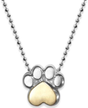 """Alex Woo Paw 16"""" Pendant Necklace in Sterling Silver & 18k Gold-Plate"""