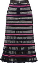Sacai Striped mesh and grosgrain maxi skirt