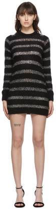 Saint Laurent Black and Silver Mohair Sequin Striped Dress