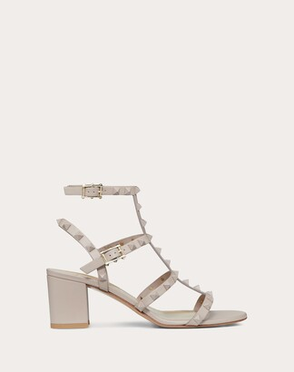 Valentino Rockstud Ankle Strap Calfskin Leather Sandal With Tonal Studs 60 Mm Women Poudre Calfskin 100% 34.5
