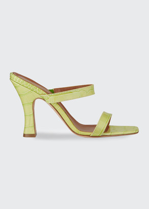 Paris Texas 95mm Mock Croc 2-Strap Mules
