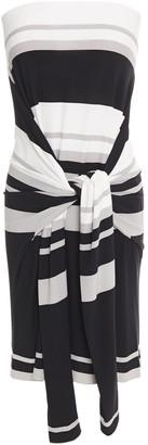 Norma Kamali Convertible Striped Stretch-jersey Mini Dress