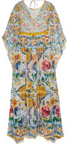 Dolce & Gabbana Printed Silk-chiffon Kaftan - Light blue