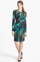 Vince Camuto Belted Print Jersey Dress