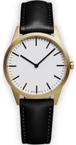 Uniform Wares Men's C35 Pvd Gold B Italian Nappa Leather Wristwatch Black