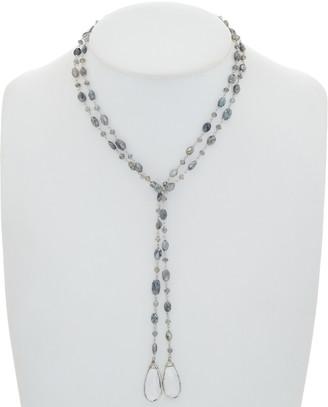Rachel Reinhardt Silver Labradorite & Clear Quartz 42In Lariat Necklace