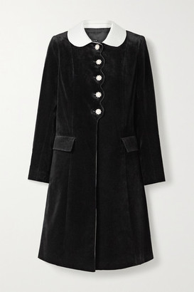 Marc Jacobs The Sunday Best Satin-trimmed Velvet-flocked Denim Coat - Black