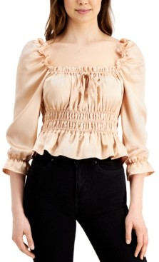 Q & A Tie-Neck Smocked Ruffle Top