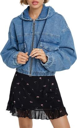 BDG Hooded Crop Denim Jacket
