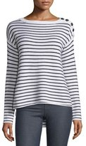 ATM Anthony Thomas Melillo Striped Wool Sailor Sweater, Black/White