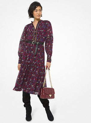 MICHAEL Michael Kors MK Paisley Georgette and Lace Ruffled Dress - Azalea - Michael Kors