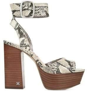 Sam Edelman Trailblazer Snake-Embossed Platform Sandals