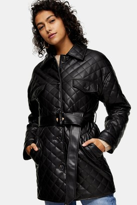Topshop Womens Black Pu Quilted Shacket - Black