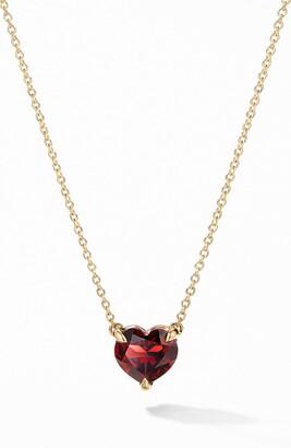 David Yurman Heart Pendant Necklace in 18K Yellow Gold with Garnet