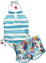 Big Chill Marine Stripe One-Piece & Floral Shorts - Girls