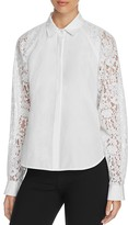 DKNY Flocked Lace Panel Blouse
