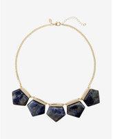 Express geometric stone bib necklace