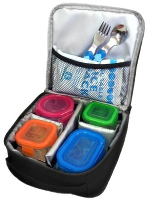 J L Childress Cooler Cube - Insulated Protective Bag for Glass Baby Bottles and Food Containers, Black