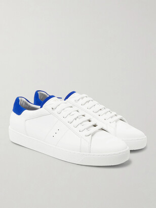 J.M. Weston Suede-Trimmed Leather Sneakers