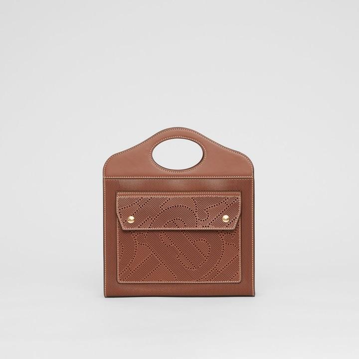 Burberry Mini Perforated Monogram Leather Pocket Bag