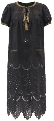 Vita Kin Veronica Tassel-neck Embroidered Linen Midi Dress - Black