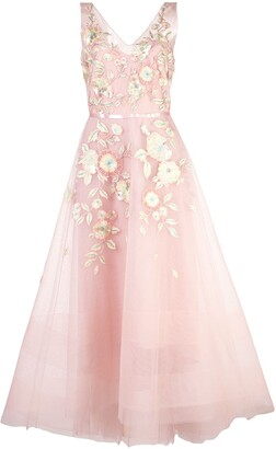 Marchesa tulle corseted ballgown with 3d acrylic flowers