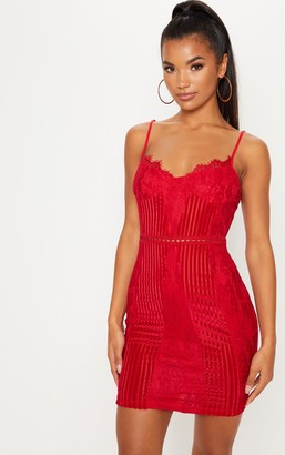Pure Red Strappy Lace Velvet Insert Bodycon Dress