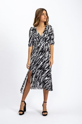 Liquorish Abstract Zebra Print Midi Dress with Split