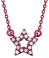 As 29 AS29 Women's 18ct Red Gold Round White Diamonds Mini Empty Star Necklace of Length 38-40cm