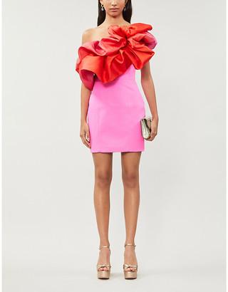 SOLACE London Finley asymmetric ruffled-trim crepe mini dress