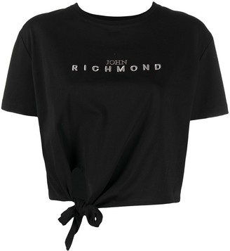 John Richmond logo-embroidered tie-front T-shirt