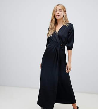 Pimkie wrap satin maxi dress in black