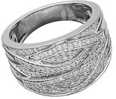 Lord & Taylor Diamond and Sterling Silver Crisscross Ring, 0.5 TCW