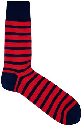 Falke Navy and red striped cotton-blend socks